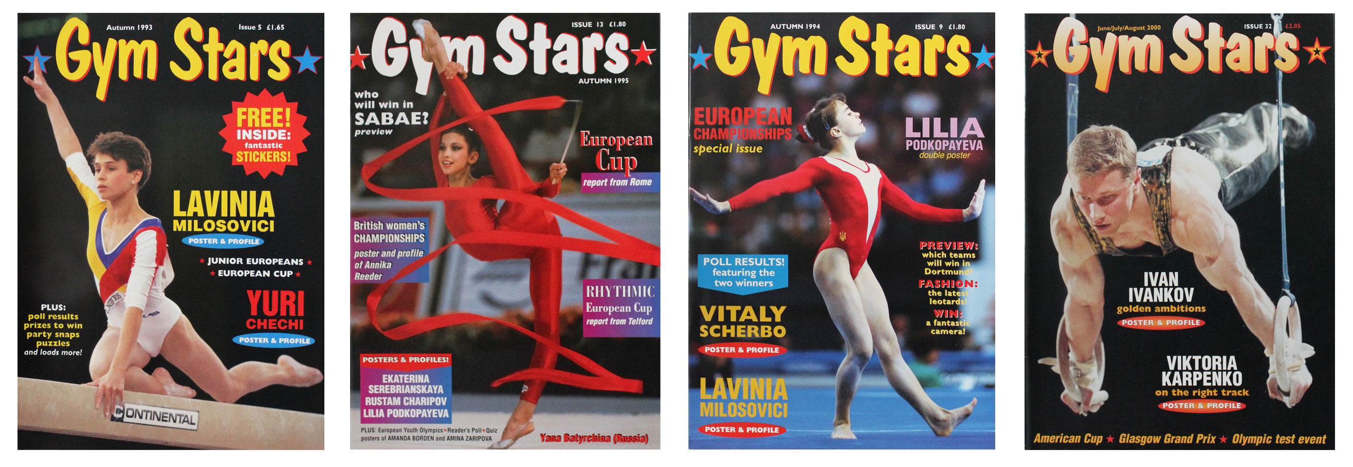 Four front covers of Gym Stars magazine